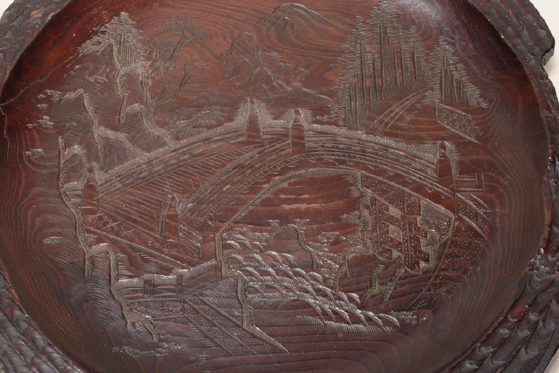 Japanese Carved Wooden Plate, - 2