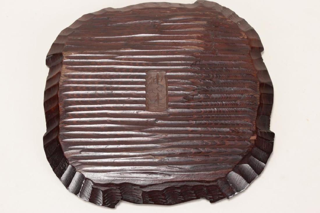 Japanese Carved Wooden Plate, - 3