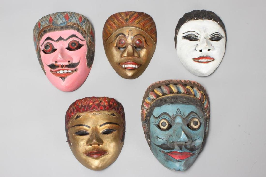 Five Painted and Carved Jogyakarta Kraton Dance