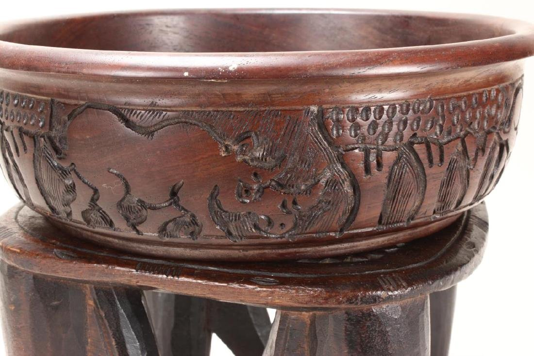 African Carved Wooden Bowl and Stand, - 2
