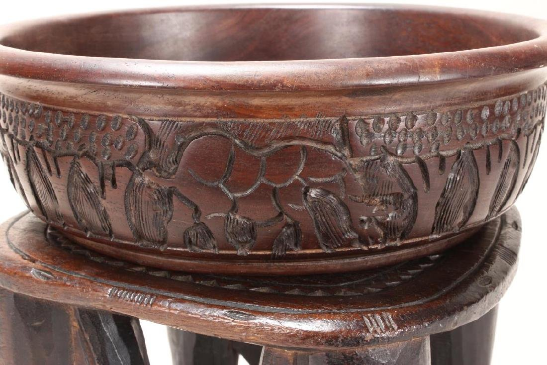 African Carved Wooden Bowl and Stand, - 3