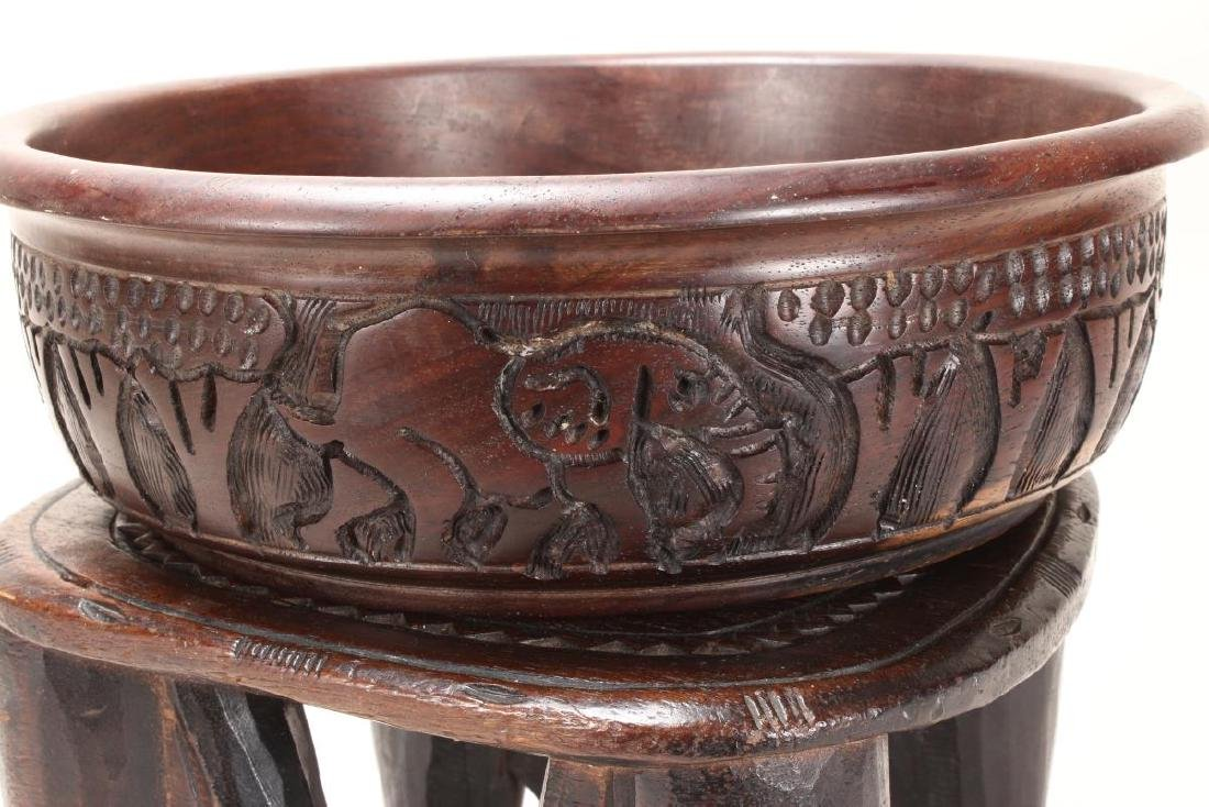 African Carved Wooden Bowl and Stand, - 4