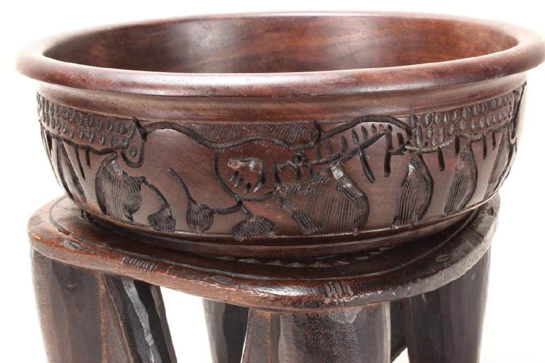 African Carved Wooden Bowl and Stand, - 5
