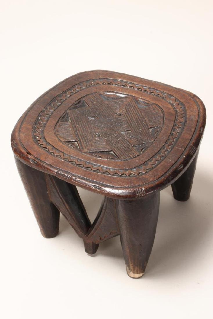 African Carved Wooden Bowl and Stand, - 6