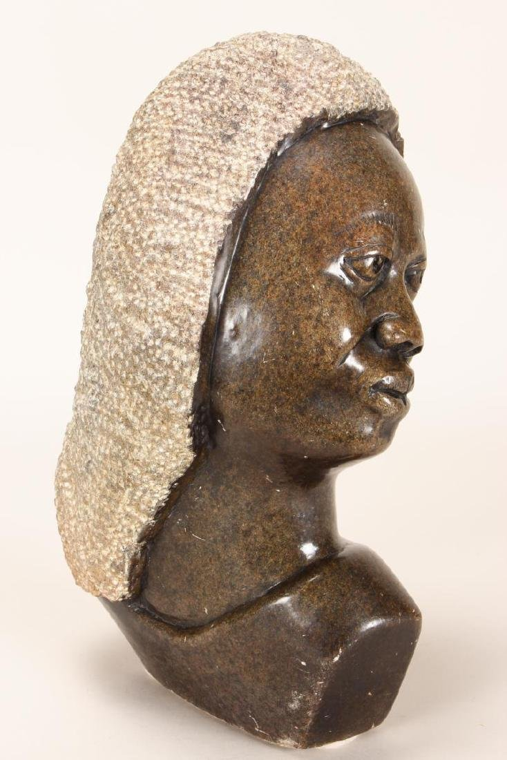 Large African Shona Carved Stone Bust,