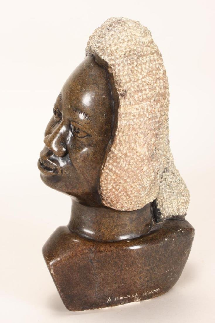 Large African Shona Carved Stone Bust, - 2