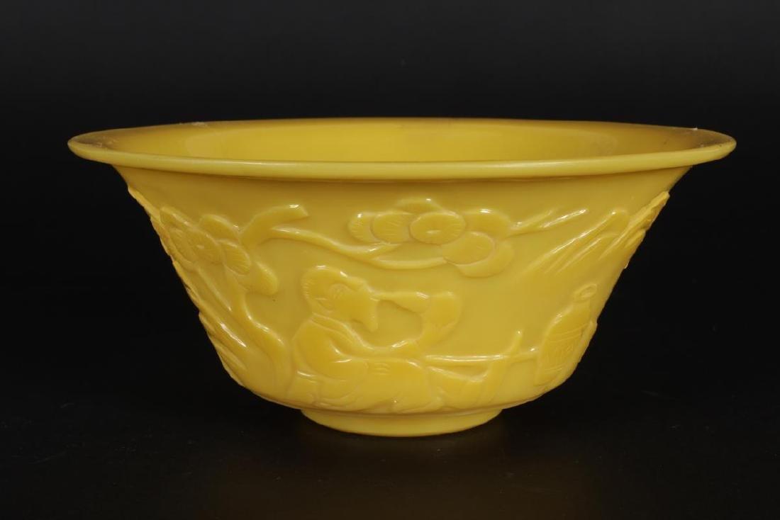 Chinese Yellow Glass Bowl,