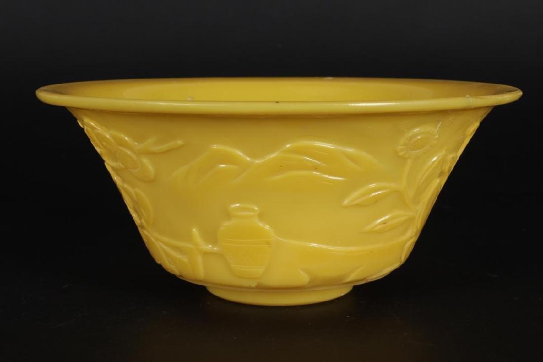 Chinese Yellow Glass Bowl, - 2