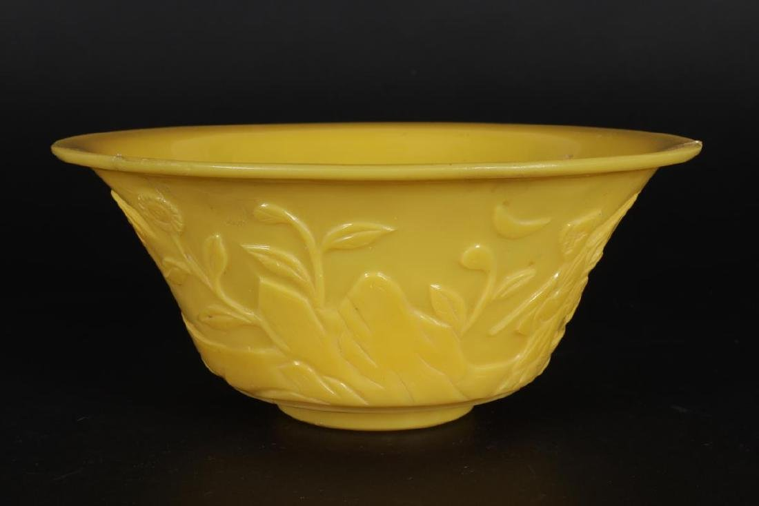 Chinese Yellow Glass Bowl, - 3