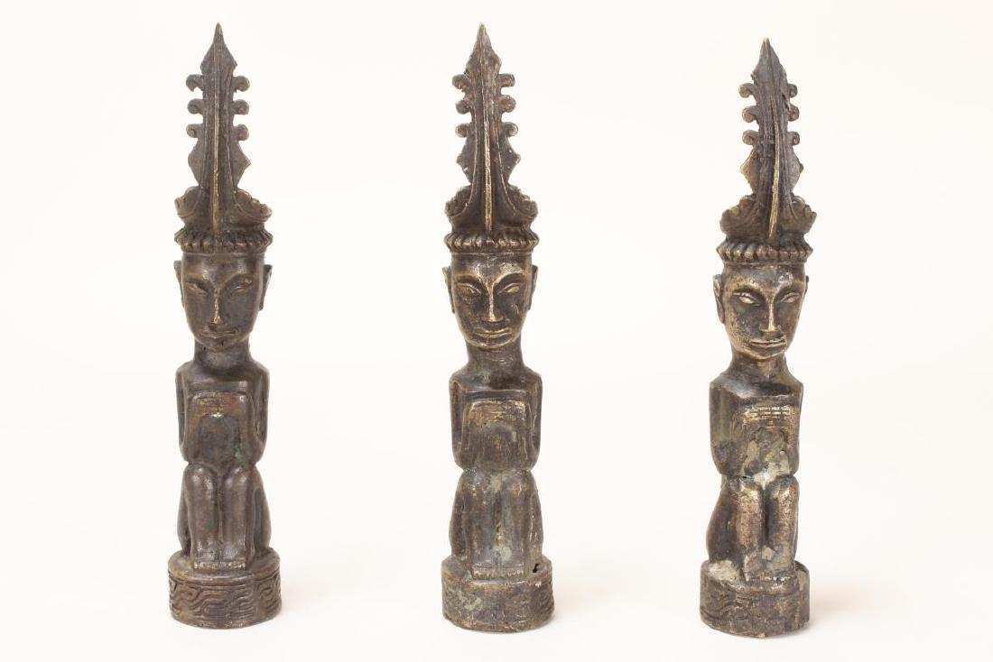 Three Bronze Nias Ancestral Figures,