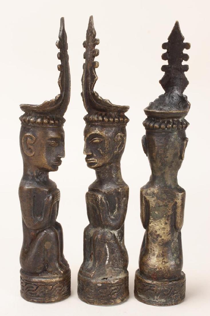 Three Bronze Nias Ancestral Figures, - 2