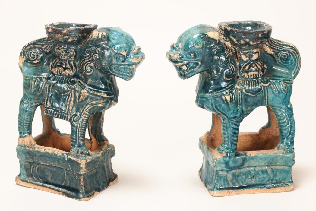 Pair of Chinese Terracotta Glazed Incense Holders,