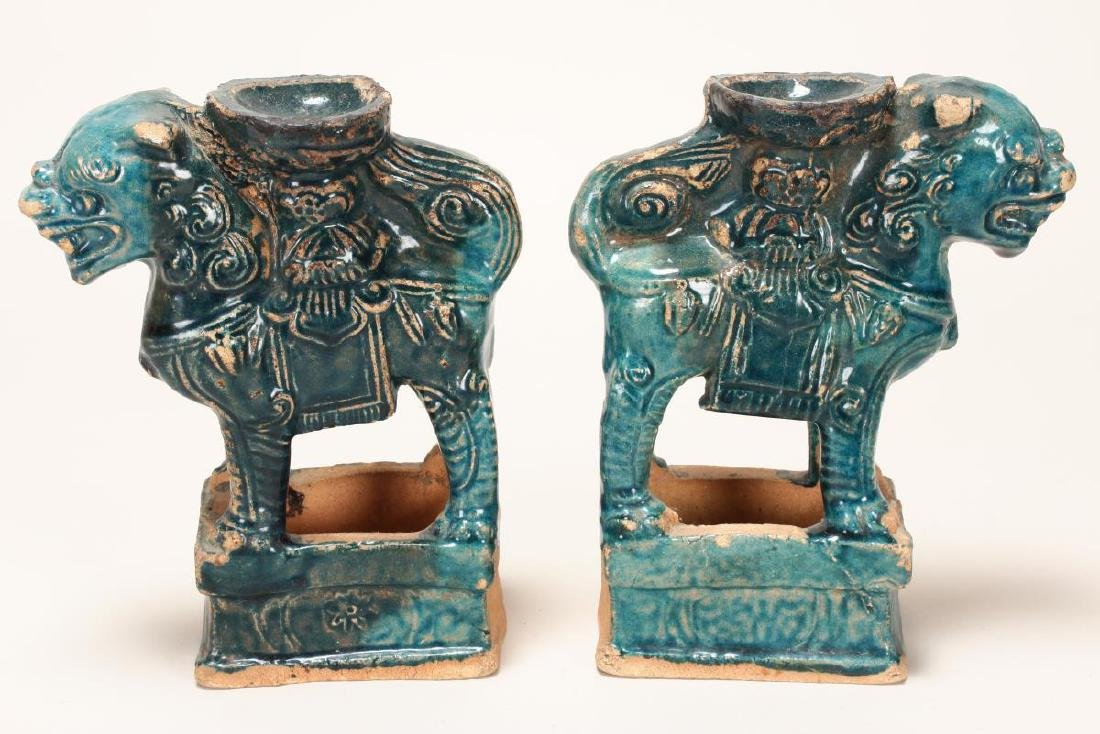 Pair of Chinese Terracotta Glazed Incense Holders, - 4