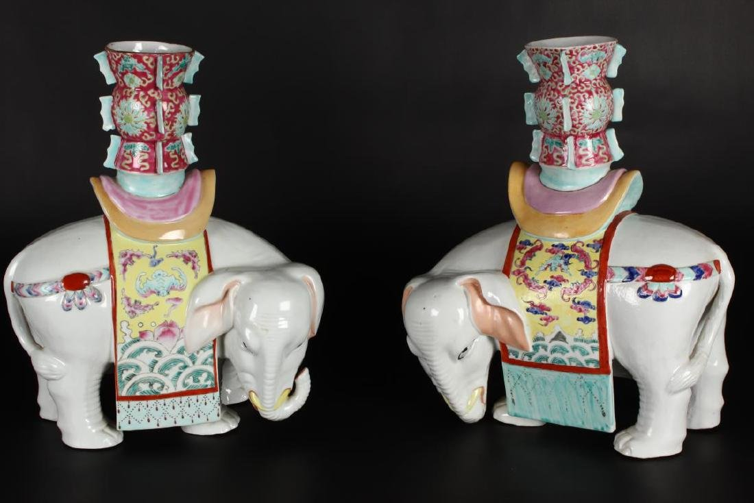 Pair of Chinese Famille Rose Elephant Vases,