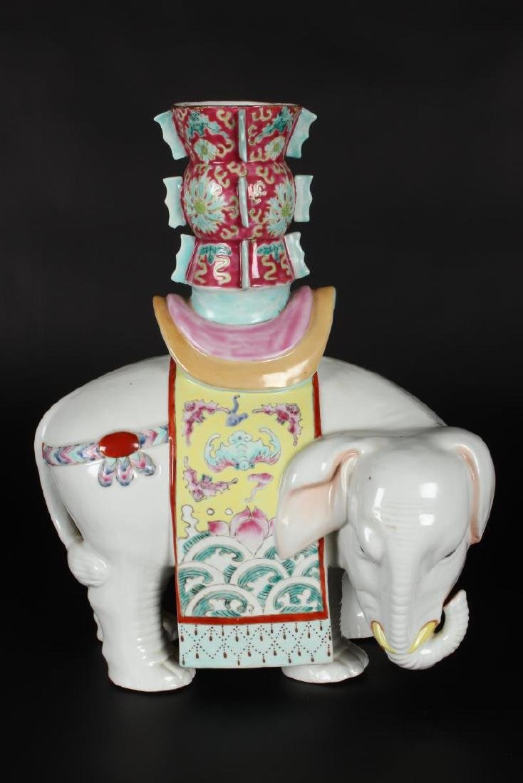 Pair of Chinese Famille Rose Elephant Vases, - 2