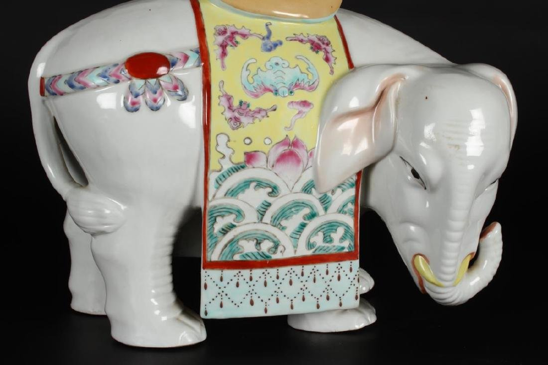 Pair of Chinese Famille Rose Elephant Vases, - 3