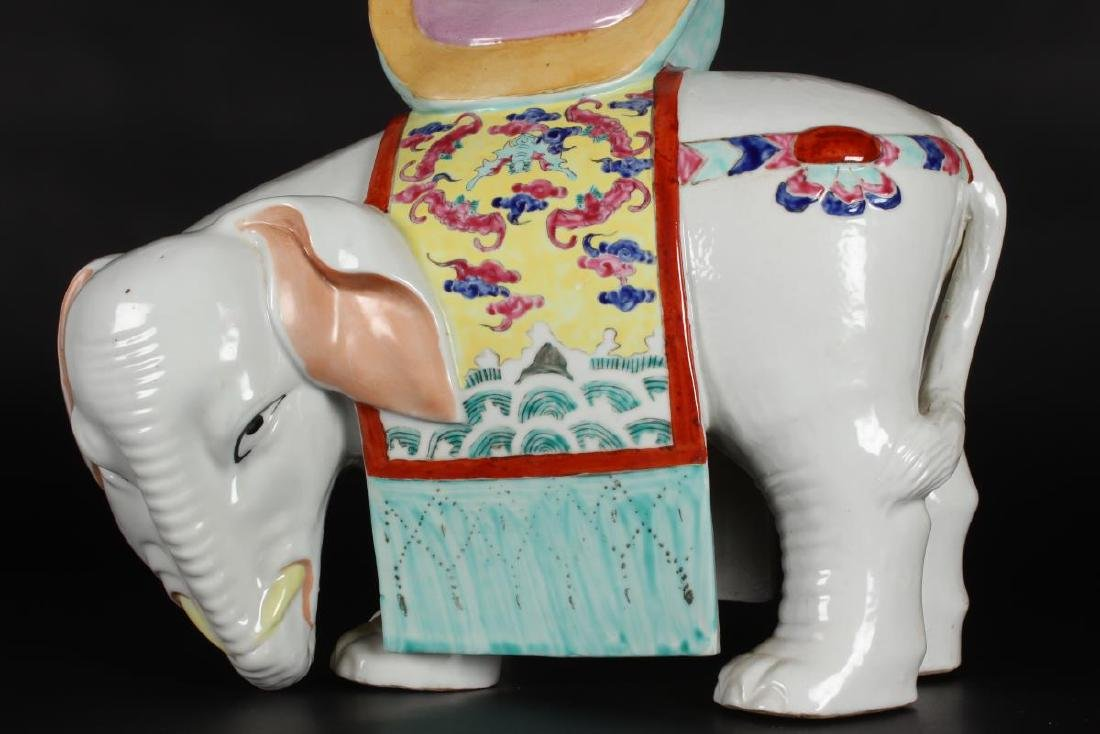 Pair of Chinese Famille Rose Elephant Vases, - 7