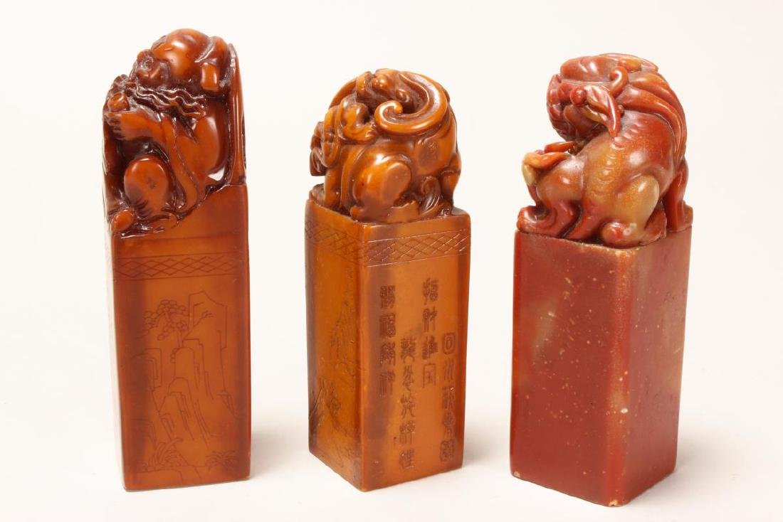 Three Chinese Carved Stone Seals, - 2