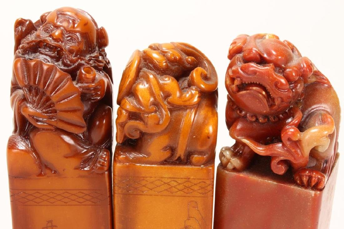 Three Chinese Carved Stone Seals, - 3
