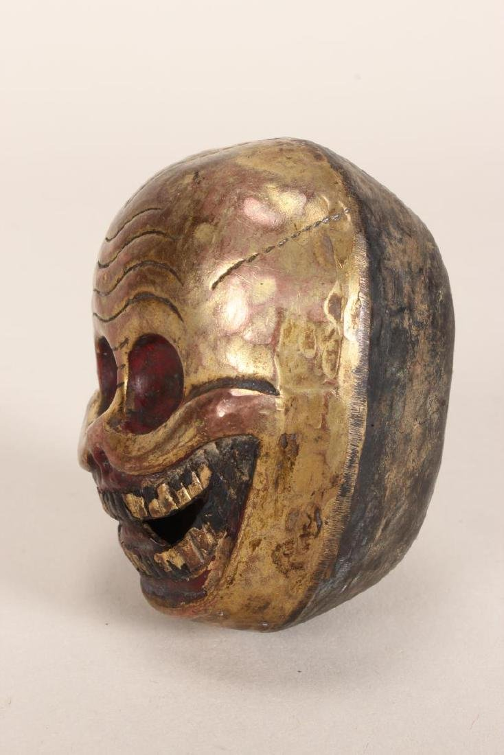 Tibetan Hollowed Metal Skull, - 2