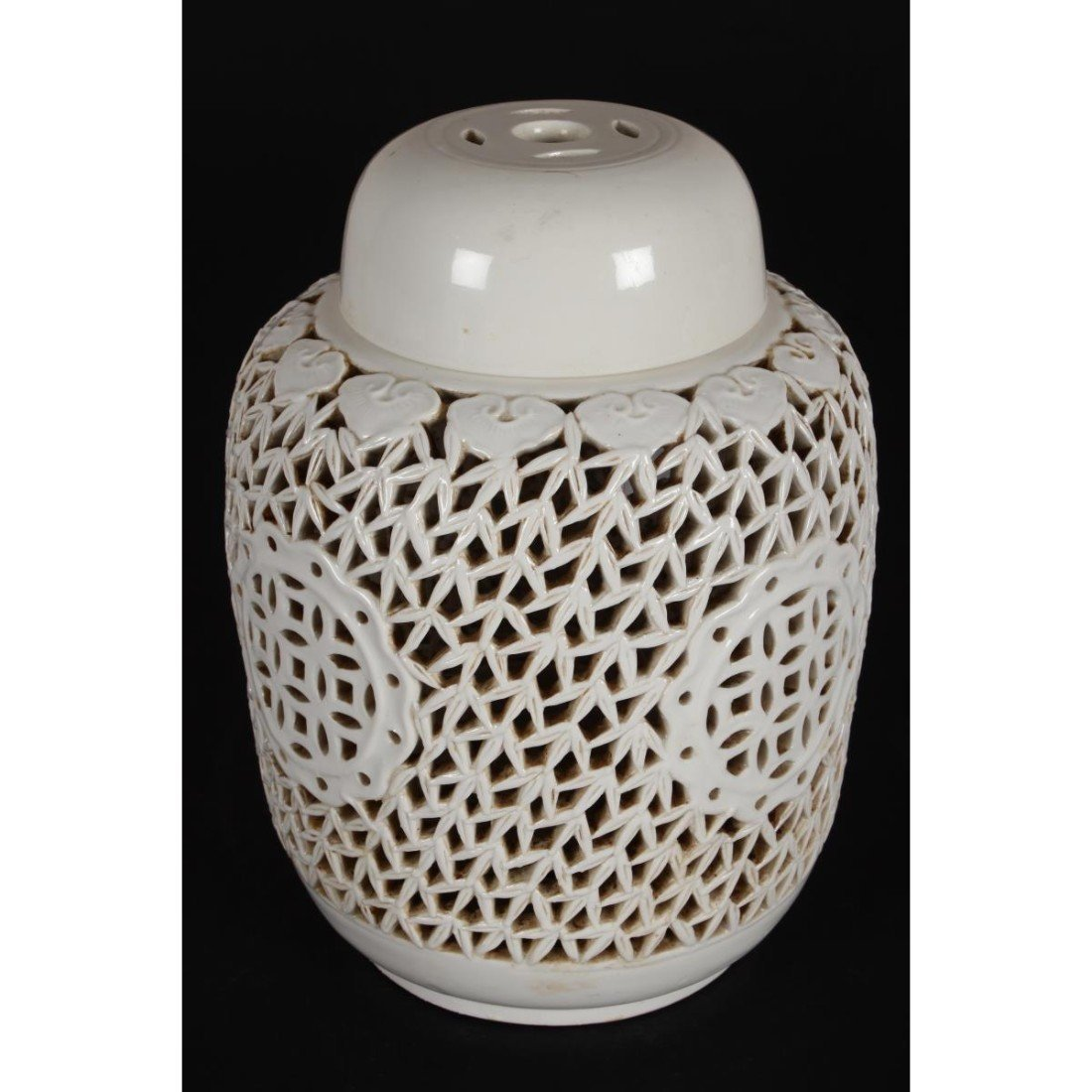 Chinese Pierced Porcelain Jar and Cover, - 2