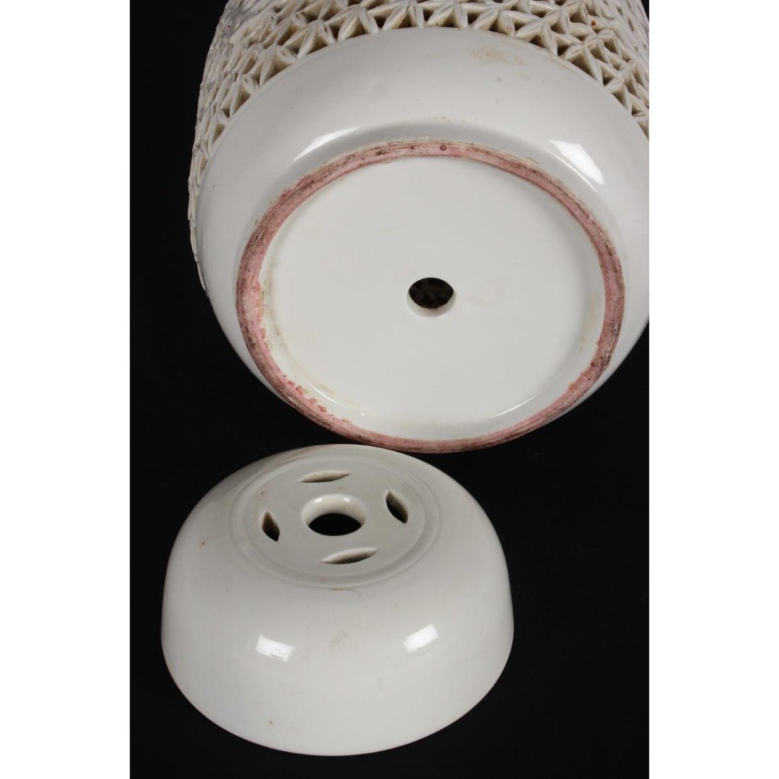 Chinese Pierced Porcelain Jar and Cover, - 3