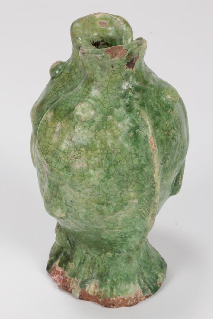 "Chinese Terracotta ""Twin Fish"" Vase, - 3"
