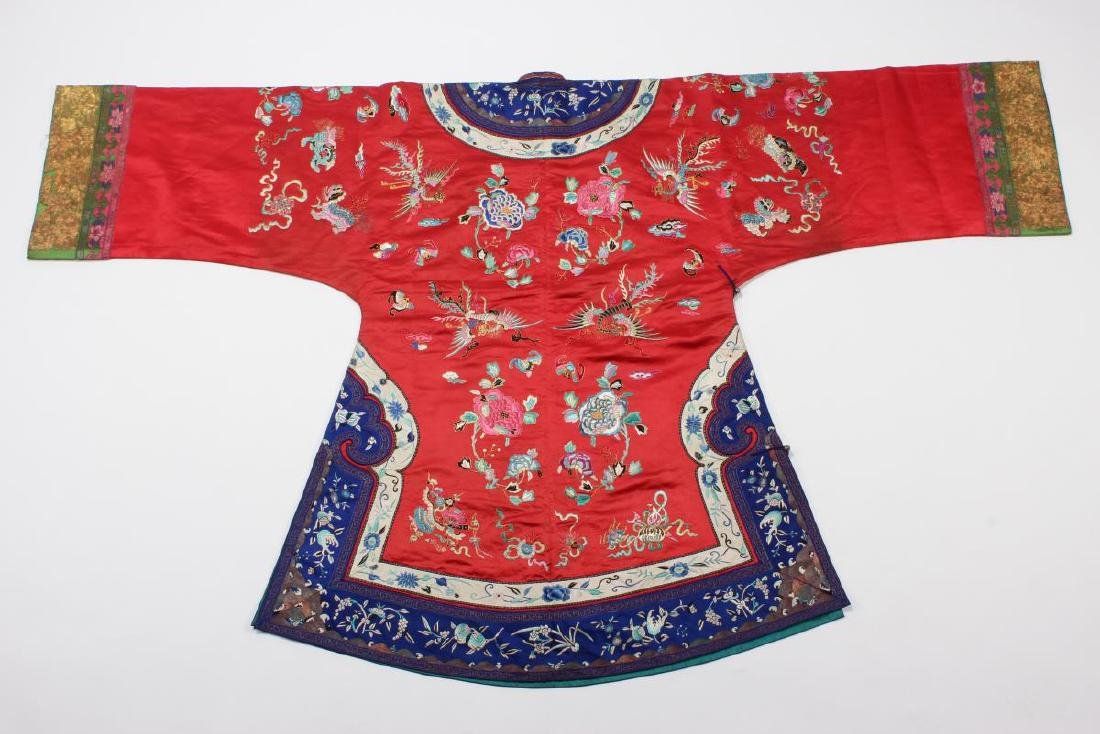 Chinese Late Qing Long Red Han Wedding Jacket, - 10