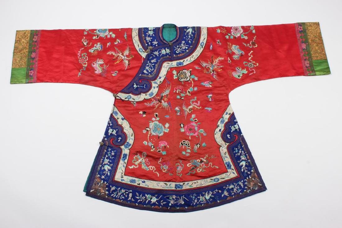 Chinese Late Qing Long Red Han Wedding Jacket,