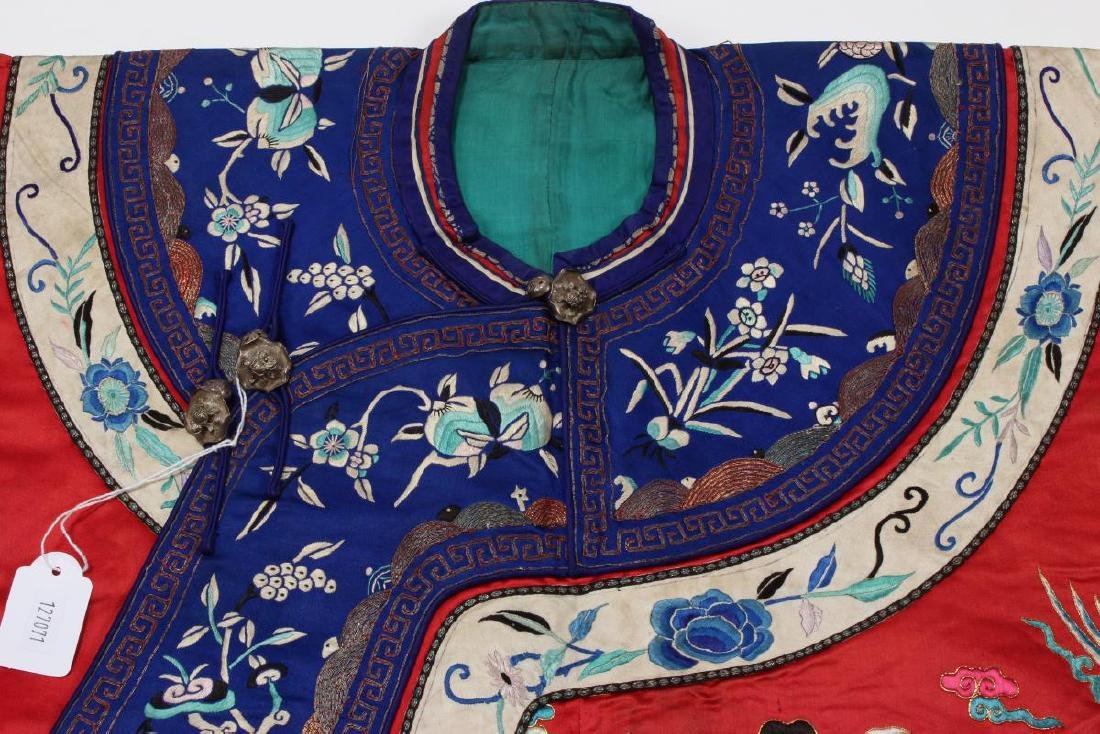 Chinese Late Qing Long Red Han Wedding Jacket, - 8