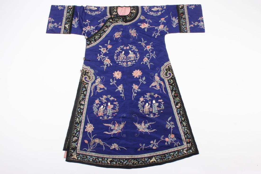 Chinese Late Qing Manchu Silk Long Robe, c.1890,