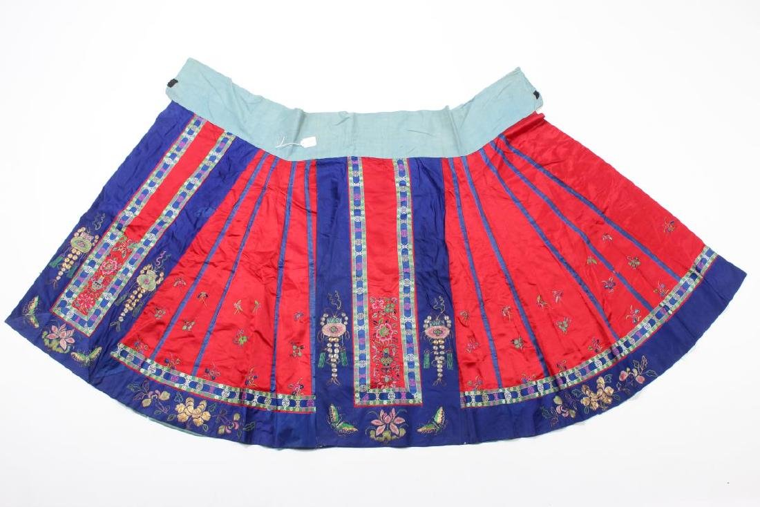 Chinese Late Qing/Early Republic Han Satin Skirt,