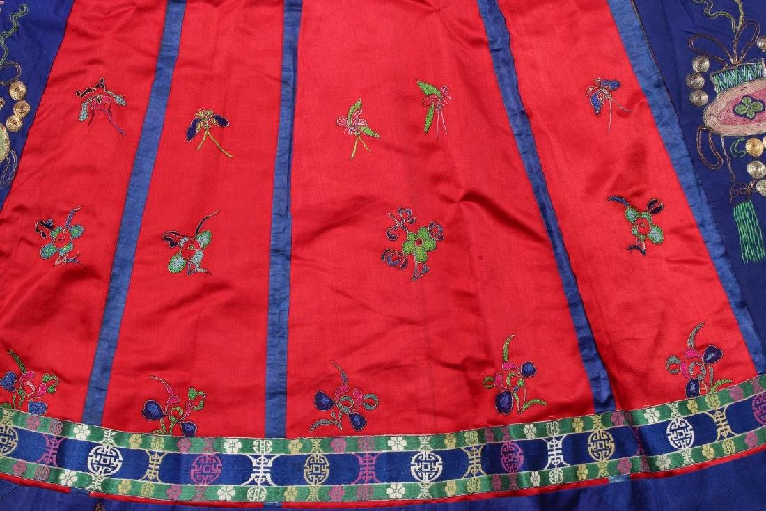 Chinese Late Qing/Early Republic Han Satin Skirt, - 3