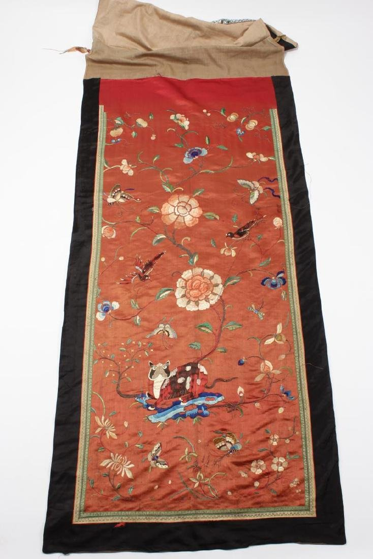 Pair Chinese Embroidered Textile Door Panels,