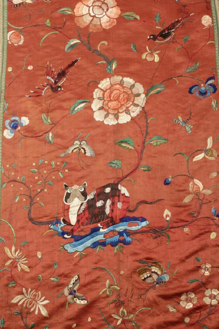 Pair Chinese Embroidered Textile Door Panels, - 2