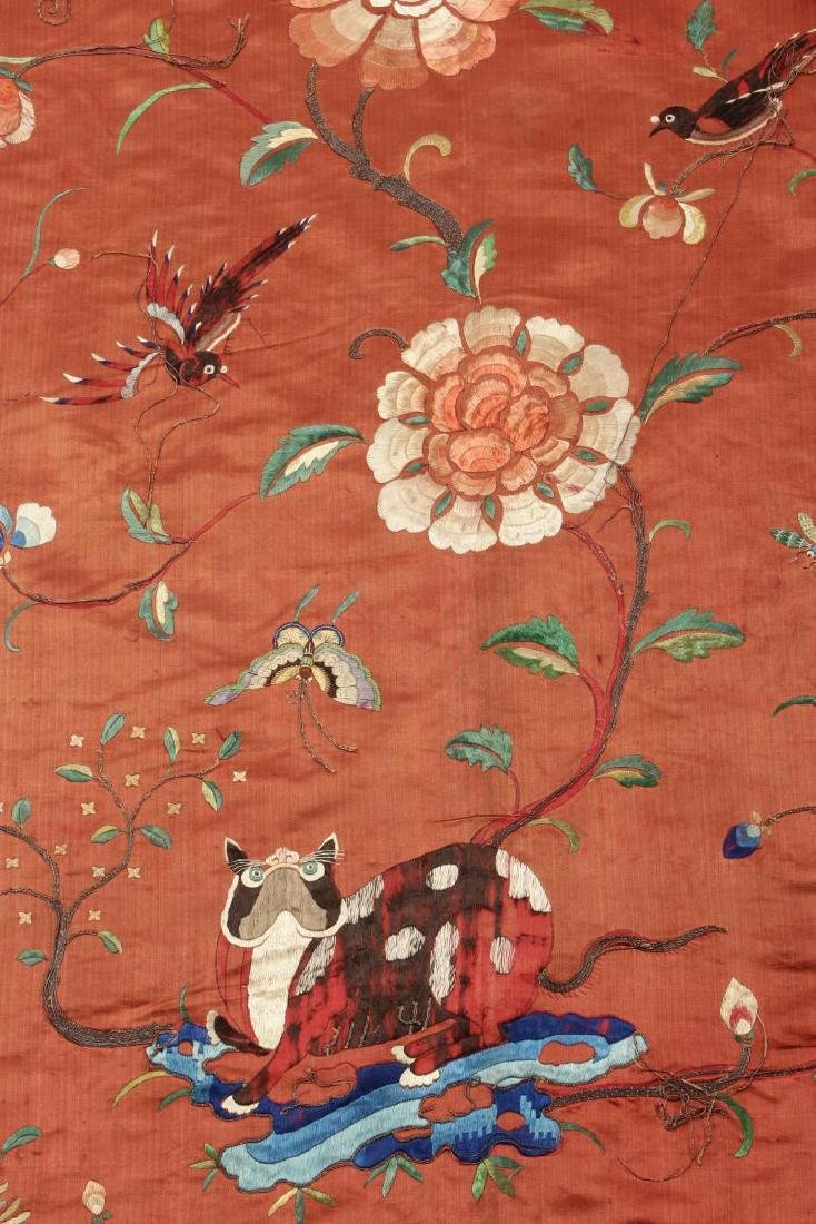 Pair Chinese Embroidered Textile Door Panels, - 3
