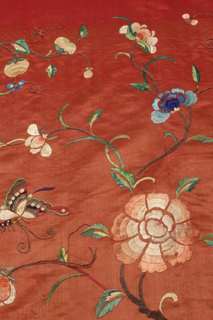 Pair Chinese Embroidered Textile Door Panels, - 4