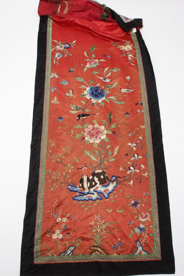 Pair Chinese Embroidered Textile Door Panels, - 7