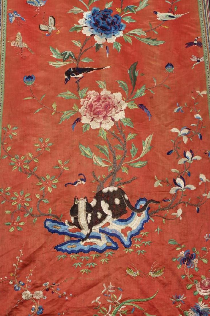 Pair Chinese Embroidered Textile Door Panels, - 8
