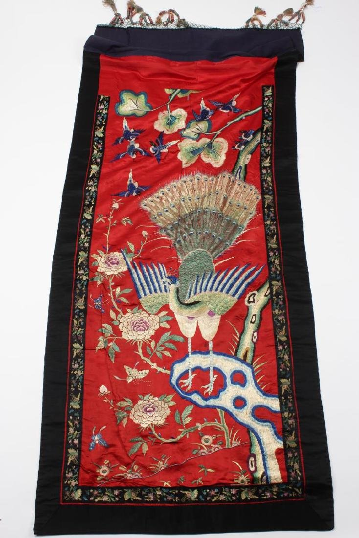 Chinese Silk Embroidered Textile Door Panel,