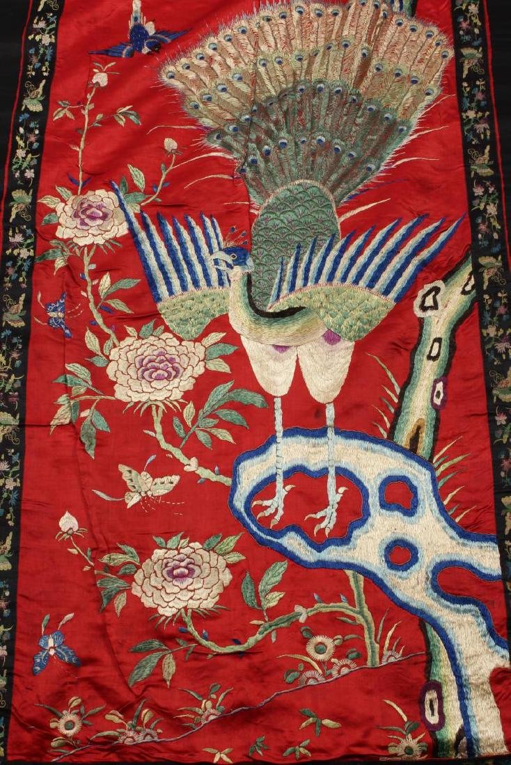Chinese Silk Embroidered Textile Door Panel, - 2
