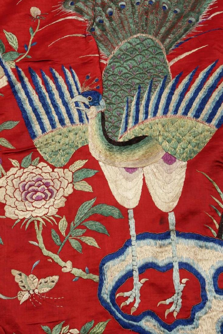 Chinese Silk Embroidered Textile Door Panel, - 3
