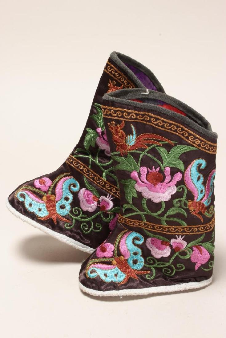 Pair of Chinese Embroidered Silk Booties,