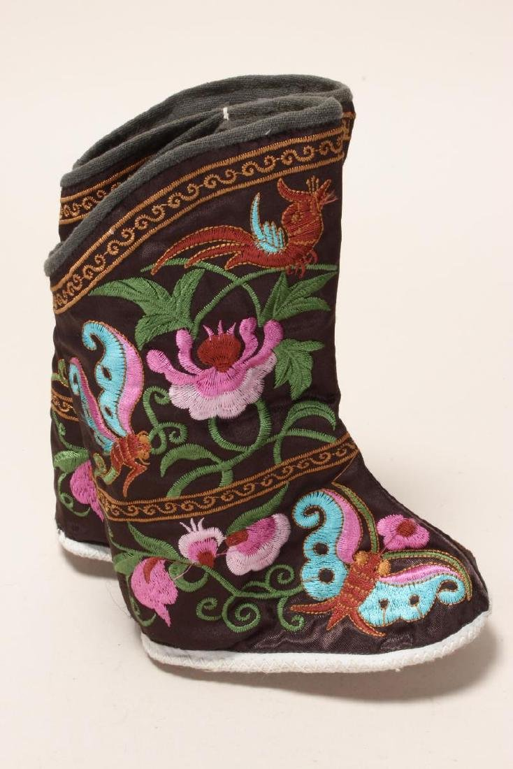 Pair of Chinese Embroidered Silk Booties, - 2