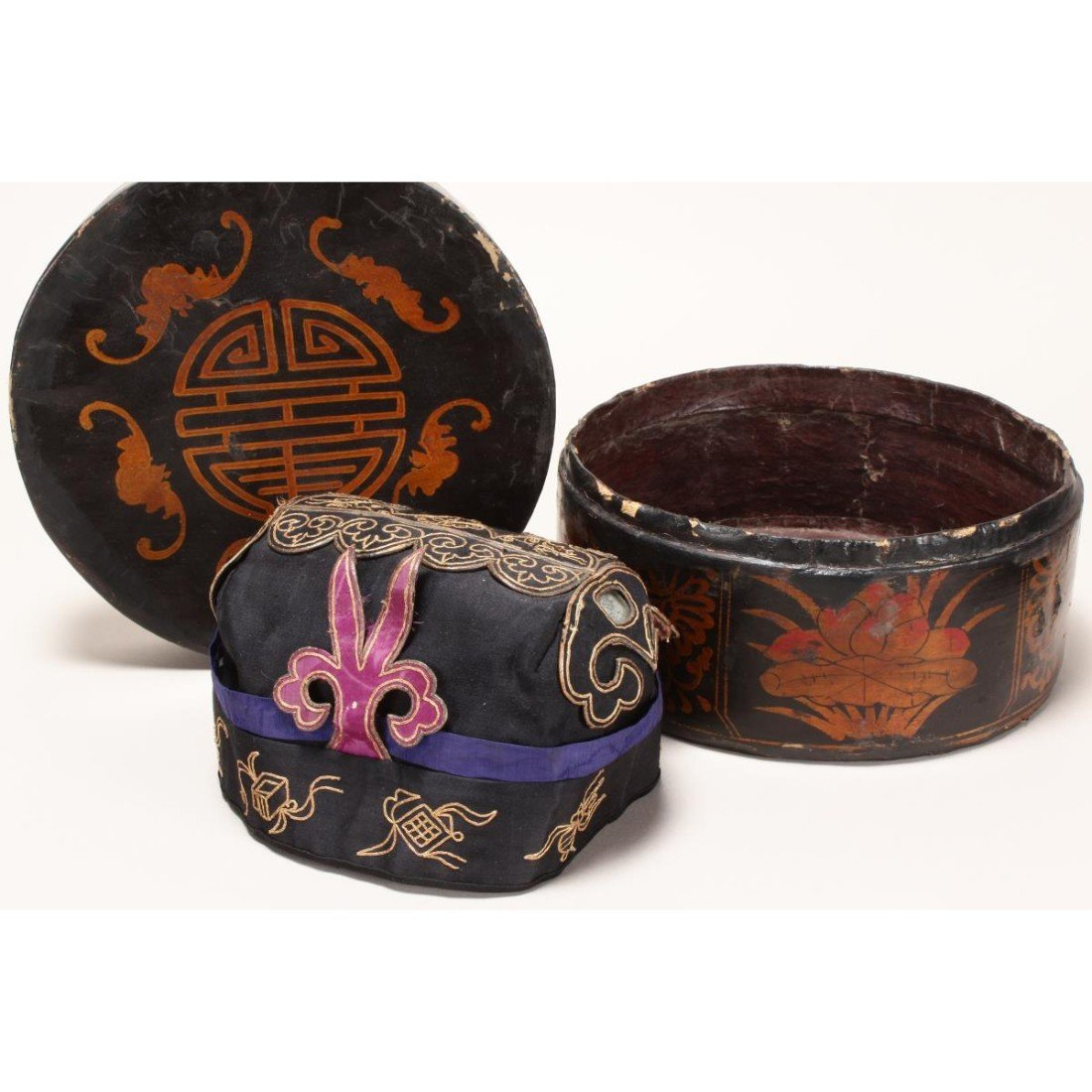 Chinese Embroidered Silk Hat,