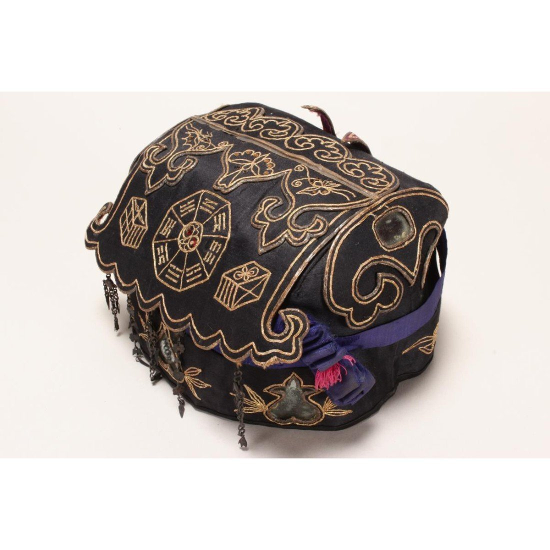 Chinese Embroidered Silk Hat, - 3