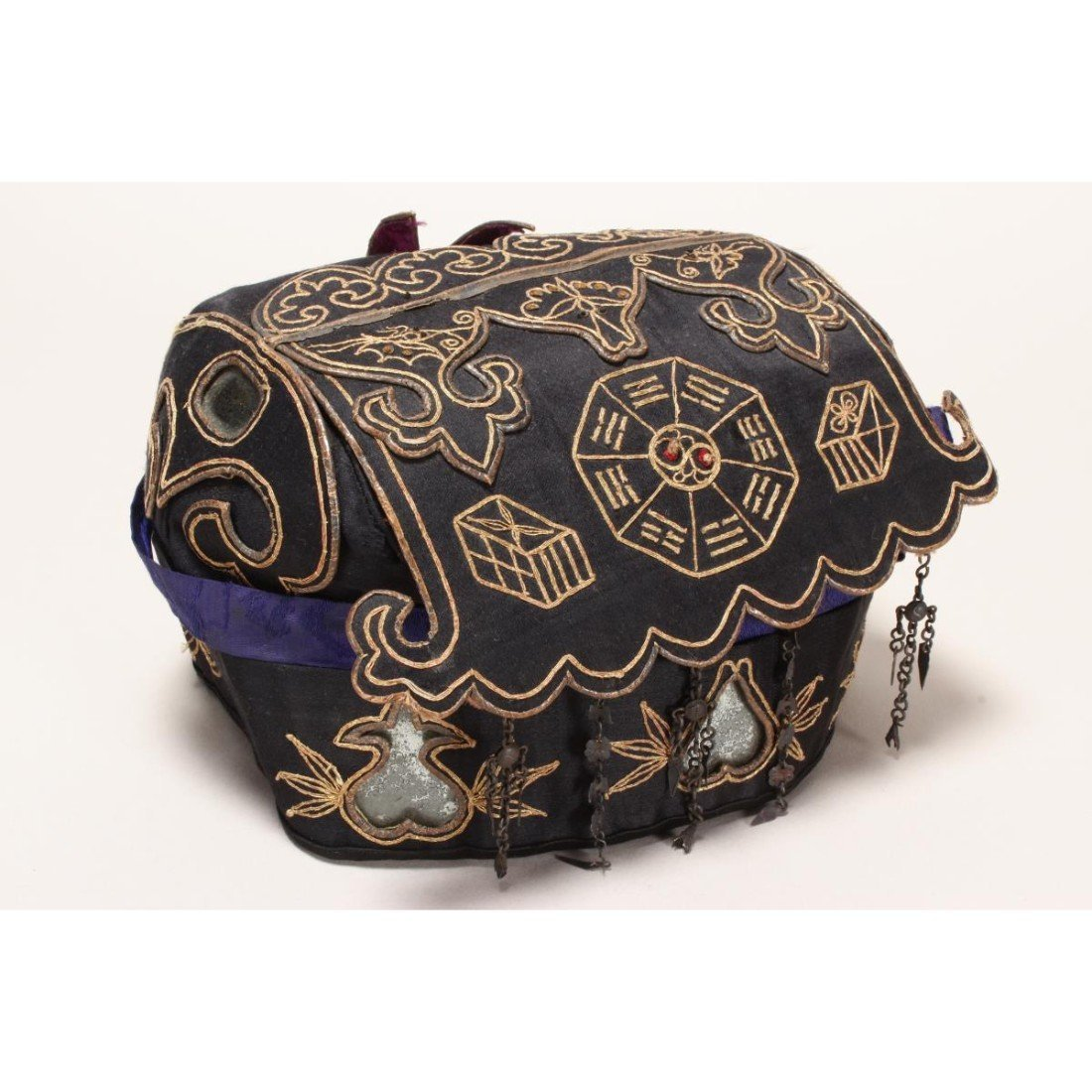 Chinese Embroidered Silk Hat, - 4