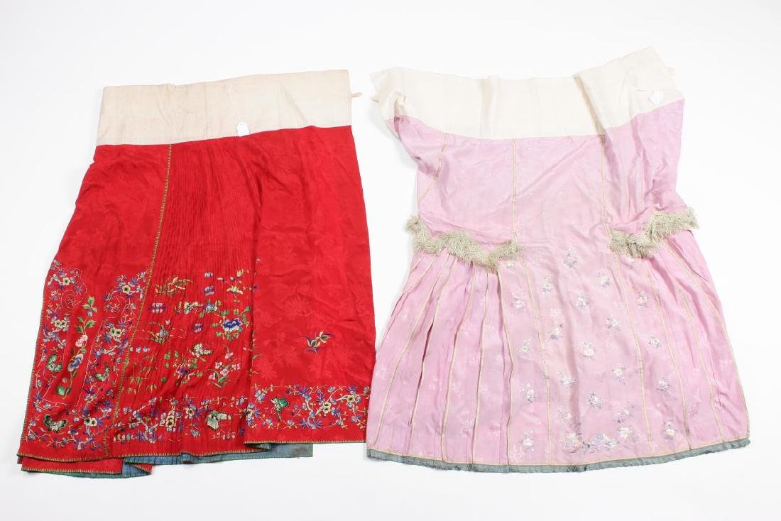Two Chinese Republic Embroidered Skirts,
