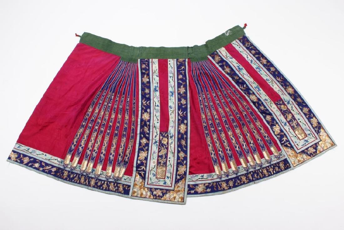 Chinese Late Qing Han Silk Wedding Skirt,