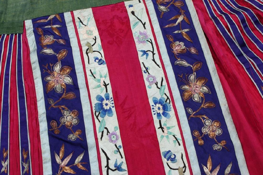 Chinese Late Qing Han Silk Wedding Skirt, - 4